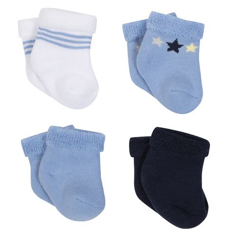 George baby Terry Socks - 4 Pack Boy's Blue - image 1 of 2