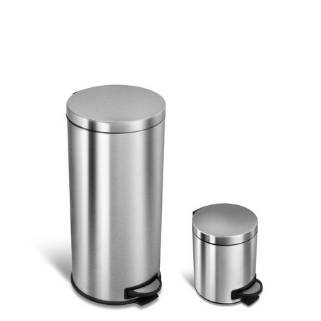 Nine Stars CB-SOT-30-1/5-1, 7.9/1.3 Gal Step-on Trash Can Combo - image 1 of 5