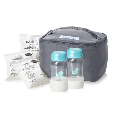 Kit d'accessoires de sac de refroidissement isolé d'evenflo avec bouteilles de collection de lait maternel et packs de glace - image 1 de 9