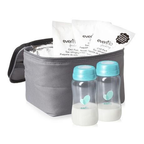 Kit d'accessoires de sac de refroidissement isolé d'evenflo avec bouteilles de collection de lait maternel et packs de glace - image 2 de 9