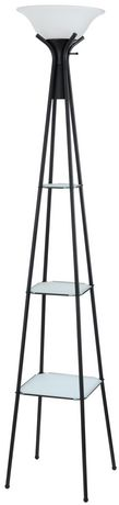 Mainstays Torchiere Floor Lamp With Black Storage Shelves Walmart Ca
