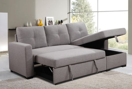 K Living Victor Linen Fabric Sectional, Grey Fabric Sectional Sofa
