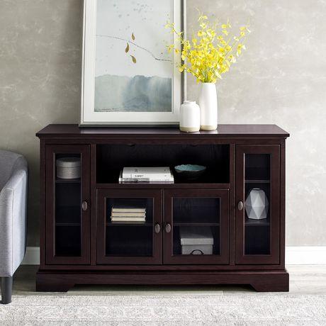 WE Furniture Walker Edison Espresso Wood Highboy TV Media Stand Storage Console - image 2 of 5
