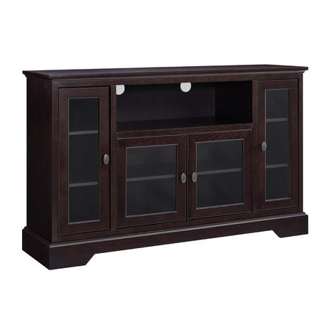 WE Furniture Walker Edison Espresso Wood Highboy TV Media Stand Storage Console - image 4 of 5