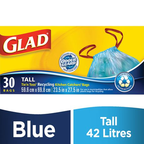 Glad Blue Recycling Bags Tall 42 5 Litres Drawstring