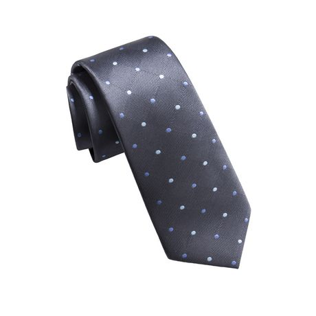 Dark grey necktie patterned with small blue and white circles