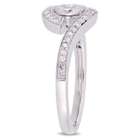 Miabella 1/5 Carat T.W. Diamond 10 K White Gold Bypass Promise Ring - image 2 of 5