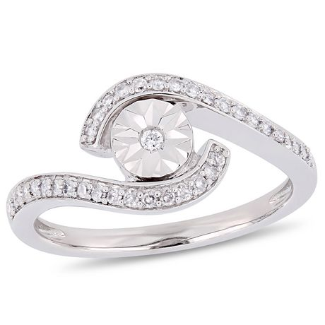 Miabella 1/5 Carat T.W. Diamond 10 K White Gold Bypass Promise Ring - image 1 of 5