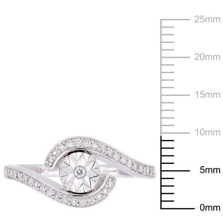 Miabella 1/5 Carat T.W. Diamond 10 K White Gold Bypass Promise Ring - image 3 of 5
