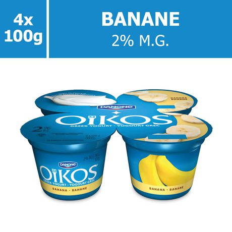 OIKOS Greek Yogurt, Banana Flavour, 2% M.F., 100g (Pack of 4) - image 5 of 6
