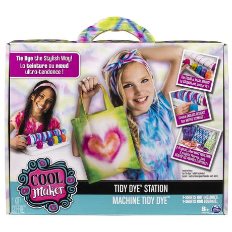 Multicoloured box with carrying handle featuring two girls on the cover holding up tie-dyed creations
