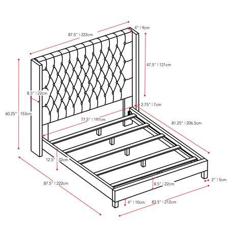 CorLiving Très grand lit Fairfield en tissu avec tête de lit capitonnée avec côtés - image 9 de 9