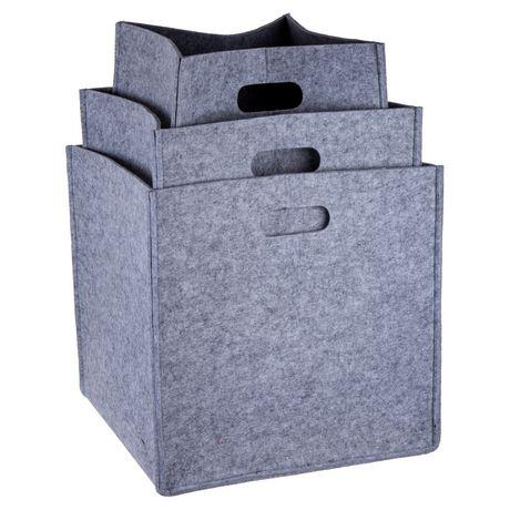 Truu Design, Ensemble de paniers de rangement, carré en feutre, Gris clair - image 2 de 6