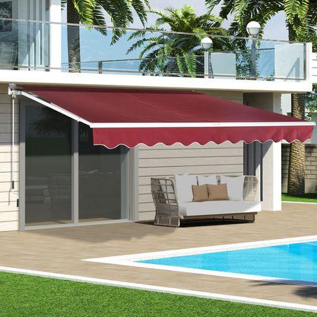 Outsunny 10'x8' Manual Retractable Awning | Walmart Canada