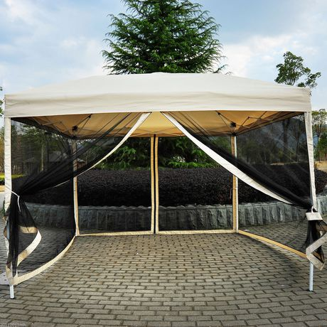 Outsunny 10x10 Ft Pop Up Party Tent With 4 Removable Mesh