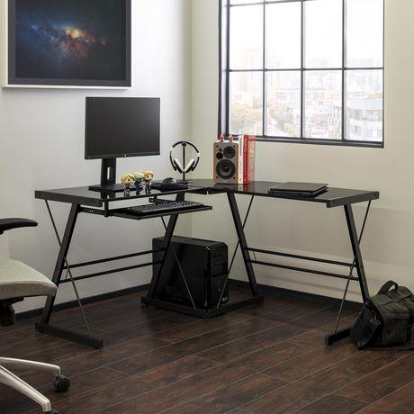 Bureau d'ordinateur en coin de verre et de métal - noir - image 2 de 5