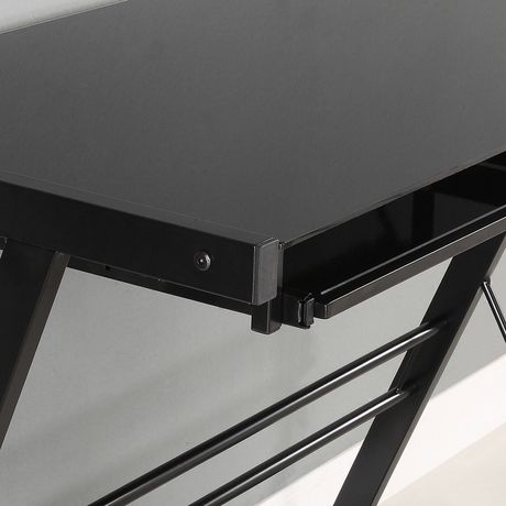 Bureau d'ordinateur en coin de verre et de métal - noir - image 3 de 5