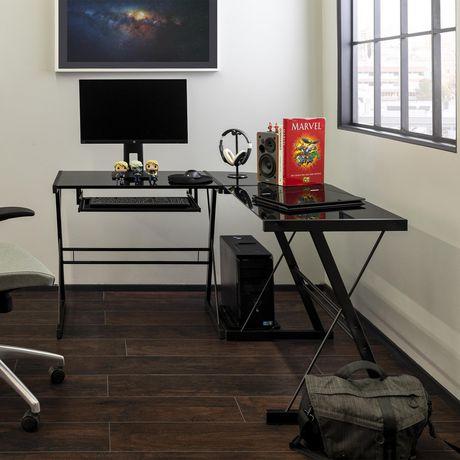 Bureau d'ordinateur en coin de verre et de métal - noir - image 4 de 5