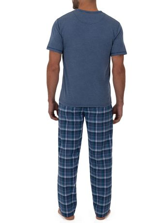 Fruit of the Loom Breathable Mesh Top Woven Pant Sleep Set Blue - image 3 of 6