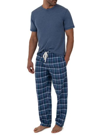 Fruit of the Loom Breathable Mesh Top Woven Pant Sleep Set Blue - image 4 of 6