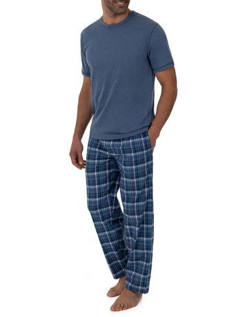 Fruit of the Loom Breathable Mesh Top Woven Pant Sleep Set Blue - image 2 of 6