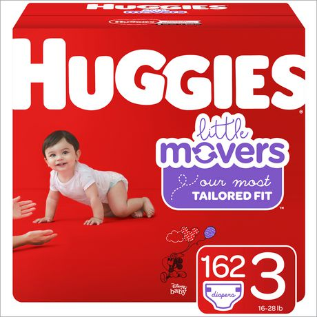 HUGGIES Little Movers Diapers, Econo Pack Sizes: 3-6 | 162-104 Count