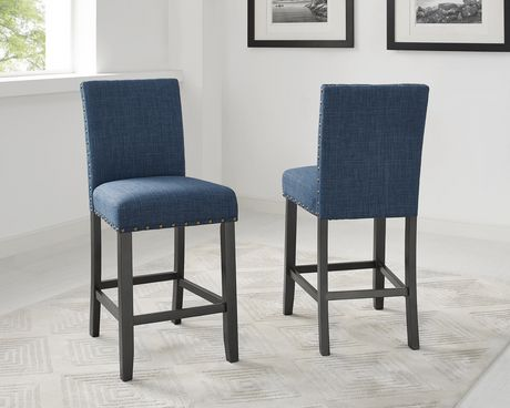 Brassex Inc Indira 24 Quot Bar Stool With Nail Head Trim Set