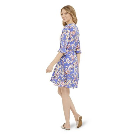 George Women's Printed Ruffle Sleeve Wrap Dress - image 3 of 6