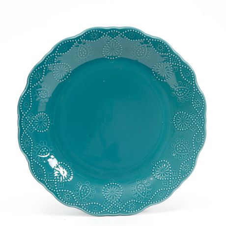 The Pioneer Woman Cowgirl Lace 12-Piece Transparent Glaze Dinnerware Set Teal - image 1 of 7