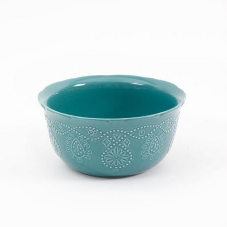 The Pioneer Woman Cowgirl Lace 12-Piece Transparent Glaze Dinnerware Set Teal - image 4 of 7