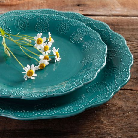 The Pioneer Woman Cowgirl Lace 12-Piece Transparent Glaze Dinnerware Set Teal - image 5 of 7