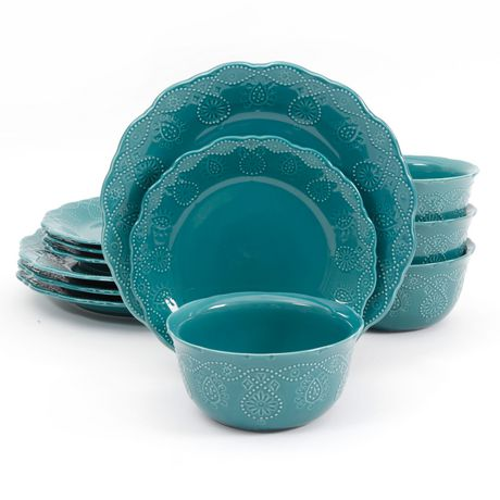 The Pioneer Woman Cowgirl Lace 12-Piece Transparent Glaze Dinnerware Set Teal - image 6 of 7