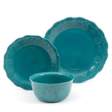 The Pioneer Woman Cowgirl Lace 12-Piece Transparent Glaze Dinnerware Set Teal - image 7 of 7