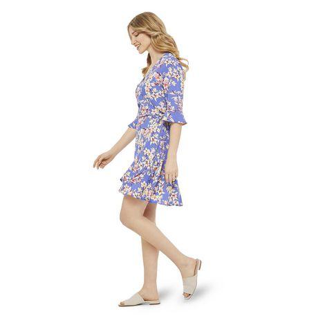 George Women's Printed Ruffle Sleeve Wrap Dress - image 2 of 6