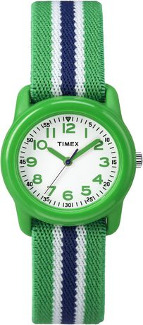 Timex® Kids Green Case White Dial Green with Blue striped Strap Quartz Analog Watch - image 1 of 1