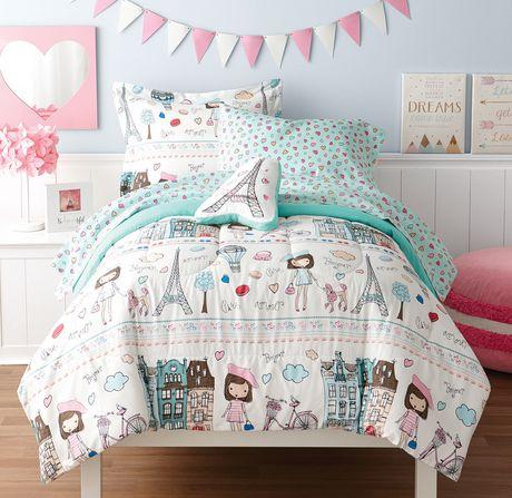 Mainstays Kids Paris Bed In A Bag Microfiber Bedding Set