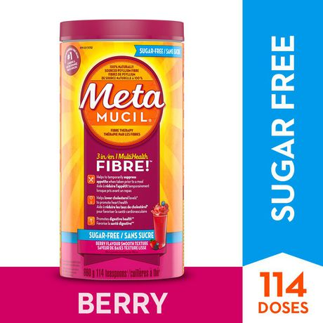 Metamucil Smooth Texture Sugar Free Berry Burst Psyllium Fiber