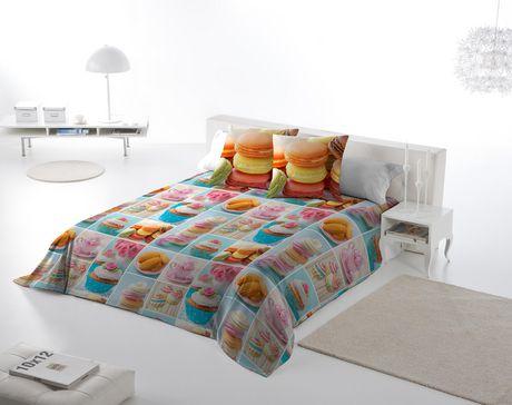 Ens housse de couette macarons de gouchee design pour for Housse de couette grand lit