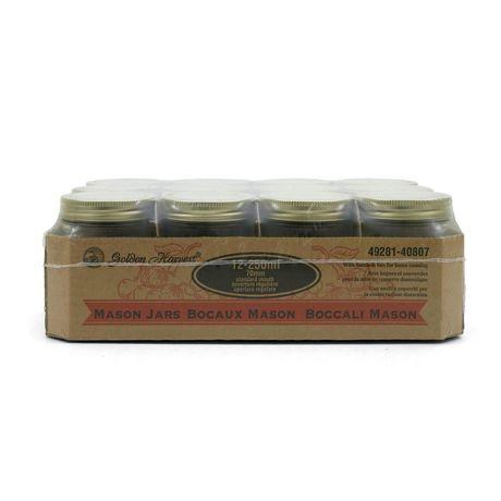 Golden Harvest Bocaux en verre de 250 ml à couvercles et bandes, bouche régulière - image 1 de 6