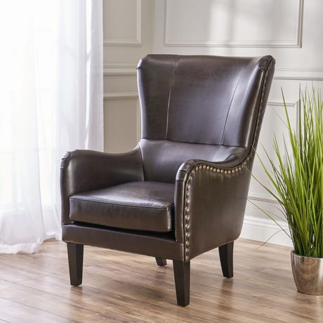 Noble House Lucas Bonded Leather Studded Club Chair