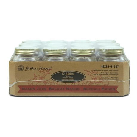 Golden Harvest Regular Mouth 500ml Glass Jars with Lids and Bands, 12 Count - image 1 of 6
