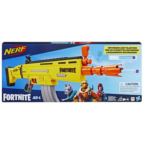 Blue box containing yellow Fortnite-themed Nerf AL Elite Dart Blaster