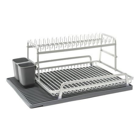 Tada Two Tier Dish Rack With Dark Grey Silicone Drying Mat