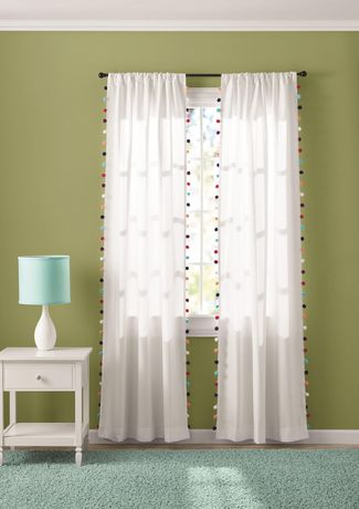 Mainstays White Pom Room Darkening, White Room Darkening Curtains Canada
