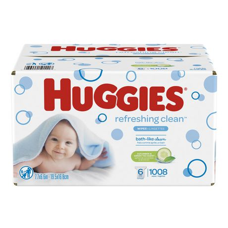 HUGGIES Refreshing Clean Scented Baby Wipes, Hypoallergenic, 6 Refill Packs (1008 Total Wipes) - image 1 of 2