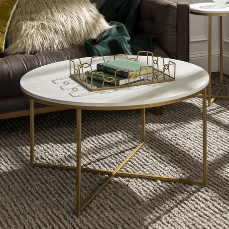 Manor Park 36 Coffee Table With X Base Marblegold Walmart Canada