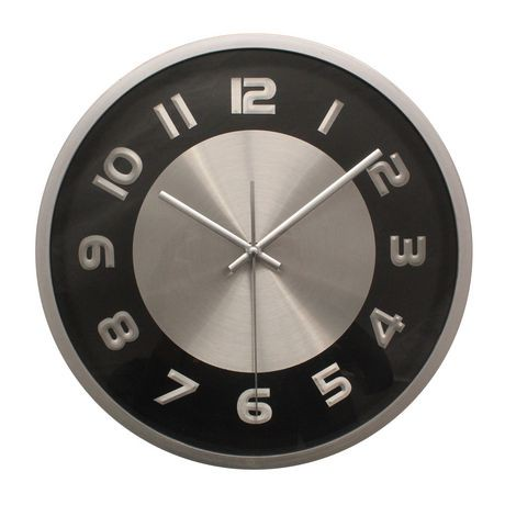 hometrends Black & Chrome Wall Clock