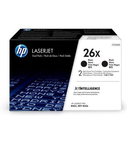 HP 26X (CF226XD) High Yield Black Original LaserJet Toner Cartridges, 2-Pack