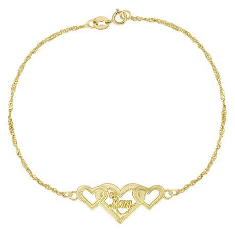Bracelet avec chaîne 10 carats ornée de coeur avec inscription - image 1 de 1