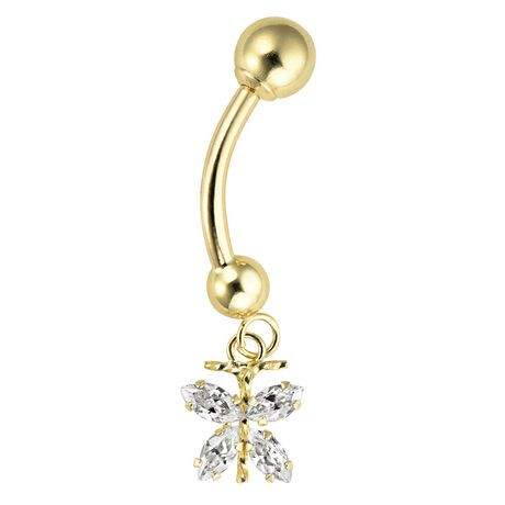 14K Yellow Gold Belly Button Piercing